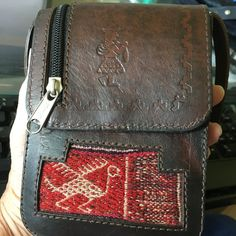 e353cdf8e82e0 Vtg Handmade Leather Cross body Travel Pouch Aztec Tooled Stamped Peruvian  Bag  Handmade  Crossbody