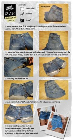 Denim cut-off shorts How To. and wear with tights underneath! So cute