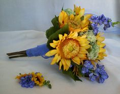 Bridal Bouquet Sunflower silk Flowers Yellow Blue by AmoreBride, $89.00