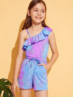 To find out about the Girls Ruffle Trim One Shoulder Tie Dye Romper at SHEIN, part of our latest Girls Jumpsuits ready to shop online today! Jumpsuits For Girls, Girls Rompers, Frill Shorts, Dress Out, Printed Skirts, Ruffle Trim, Tie Dye, Girl Outfits, Halloween 2018