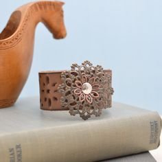 Leather Cuff Bracelet by ZuzusPetalsCreations on Etsy
