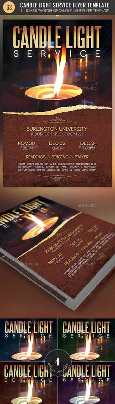 Candle Light Service Flyer Template — Photoshop PSD #lights #template • Available here → https://graphicriver.net/item/candle-light-service-flyer-template/14294811?ref=pxcr