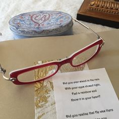Brighton Canterbury folding reading glasses Unique rose colored folding reading glasses with beautiful silver arms with a twisted rope detail. The front is embellished in typical Brighton style with crystals on either side. Comes with carrying case. Scratch free and in perfect pre-loved condition. 1.5 reading lenses. Brighton Accessories Glasses