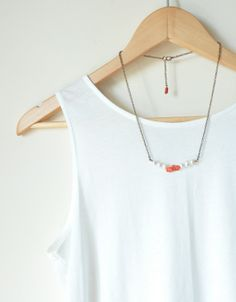 pearl and coral necklace  gold chain  long necklace by hobilium, $23.90
