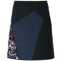 DKNY Embellished Patchwork Skirt (800 RON) ❤ liked on Polyvore featuring skirts, black, high waisted short skirts, short skirts, dkny skirts, black a line skirt and dkny