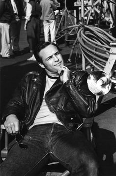 Marlon Brandon on the set of The Wild One,1953. 'The Wild One' (Columbia Pictures) is a 1953 American outlaw biker film directed by László Benedek and produced by Stanley Kramer. It is famed for Marlon Brando's iconic portrayal of the gang leader Johnny Strabler.