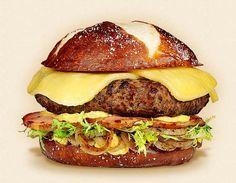 The Rhinelander: Wisconsin Butterkase Cheeseburger Recipe. Other ingredients… Fondue Recipes, Burger Recipes, Cheese Recipes, Grilling Recipes, Food Inc, Homemade Cheeseburgers, Hamburgers, Fresh Bread Crumbs, Breakfast