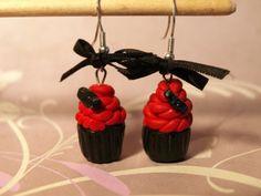 Cupcakes Earrings 8eur #noir #fimo #artisanal