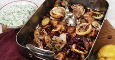 Grekisk allt på en plåt-kyckling med gurksallad Paella, Beef, Chicken, Ethnic Recipes, Recipies, Meat, Steak, Cubs