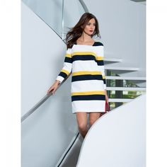 Robe graphique rayée n°113 de Burda Style Février 2014