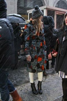 Snowy street style at New York Fashion Week: Outside Rag & Bone | StyleCaster