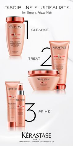 The Kerastase Discipline Regimen includes a smooth-in-motion shampoo to prevent frizzy hair, a conditioner that makes hair extremely soft to the touch, and a thermal anti-frizz protection spray that provides shine and control.