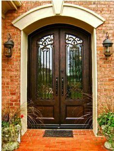 Clark Hall Hand Carved Wood and Wrought Iron Entry Doors House Doors, House Entrance, Entrance Doors, Home Modern, Modern Door, Iron Front Door, Front Doors, Double Door Design, Wrought Iron Doors