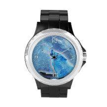 Howling Arctic  Wolf & Moon Wildlife Design Wristwatches