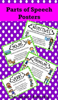 Adjectives, Nouns, Pronouns, Verbs and Prepositions for younger learners, with pictures for easy reference. Parts Of Speech, Prepositions, Colorful Pictures, Sentences, Minimalism, Butterfly, Easy, Poster, Colorized Photos