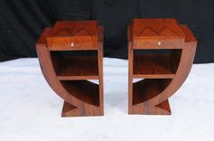 Pair Art Deco Bedside Tables Nightsands Bedroom Furniture