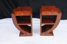 Pair Art Deco Bedside Tables Nightsands Bedroom Furniture