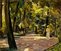 english garden in munich. by albert weisgerber. that play of light on the ground ...