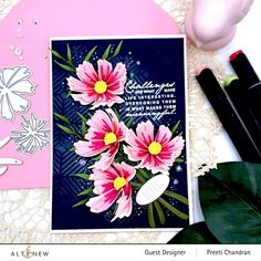 Flower Stamp, Flower Cards, Cosmos Flowers, Altenew Cards, Pink Cards, Ink Stamps, Alter, Card Stock, Card Making