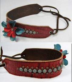 Red Croc Headband with Leather Flowers and Copper Patina Verdigris Dots by  Running Roan Tack 58d2559a61f25