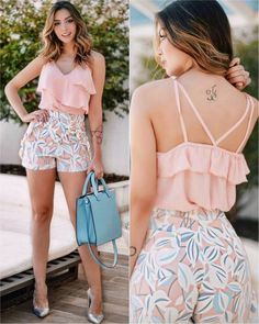 Girly Look Ruffle Top With Floral Shorts Short Outfits, Chic Outfits, Spring Outfits, Short Dresses, Vetements Shoes, Mein Style, Casual Looks, Casual Wear, Ideias Fashion