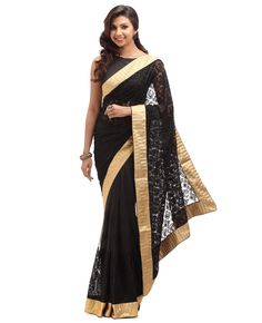 Net fabric. Body is black net with self thread work including stone work with border. Golden fancy attached border. Pallu is Black net with self thread work including stone work with saree border. Pallu is plain net with saree border.