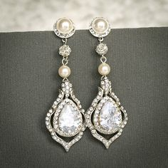 TORILYN, Wedding Earrings, Bridal Earrings, Vintage Style Pearl and Crystal Rhinestone Dangle Earrings, Teardrop Earrings, Bridal Jewelry by GlamorousBijoux on Etsy
