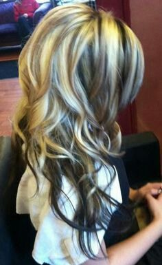 Blonde High Lights with Low Lights and dark brown under the bottom. LOVE THIS LOOK!!!!