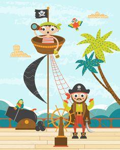 Art Print - Pirates 2 - Ryan Deighton Design Tweety, Pirates, Children, Kids, Pattern Design, Print Patterns, Art Prints, Wallpaper, Fictional Characters
