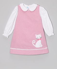 Pink Plaid Kitty Jumper & White Blouse - Toddler & Girls by Monday's Child on zulily Little Girl Outfits, Little Girl Dresses, Kids Outfits, Baby Girl Dresses, Baby Dress, Frocks For Girls, Girls Blouse, Toddler Dress, Toddler Girls