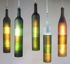 Fancy - Upcycled Color Block Hanging Lights by Jerry Kott