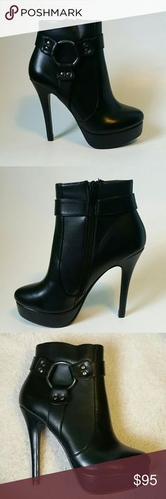 Charles by Charles David platform booties Brand name: Charles by Charles David Color is black Size: 6B These gorgeous shoes are amazing. Bought but never worn before. They are in good condition but do have some small marks on them. One shoe has a indent on the front.  These black ankle boots or booties have a zipper on the side and have a cute buckle on the other side. They also have a platform. The bottoms of these shoes are in great condition. The heel size is 5 inches high.  If you have…