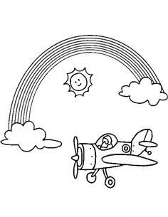 Free Rainbow and Unicorn Online Coloring Pages. Color in this picture of a Rainbow and Plane and send to a Friend or Family Member with our library of online coloring pages. Online Coloring Pages, Cartoon Coloring Pages, Coloring Sheets, Airplane Coloring Pages, Rainbow Cartoon, Rainbow Pages, Simple Pictures, Third Birthday, Cooking