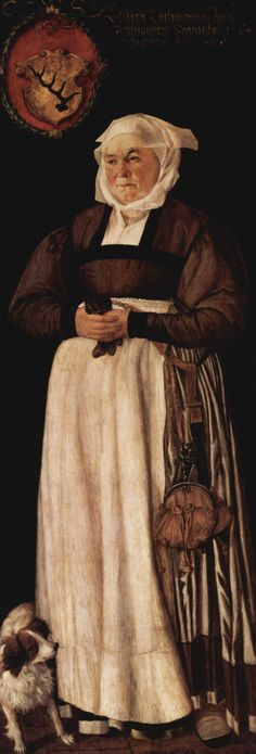 Portrait of Elsbeth Lochmann in modest German style: she wears a light-colored petticoat trimmed with a broad band of dark fabric at the hem, with a brown bodice and sleeves and an apron. An elaborate purse hangs from her belt, and she wears a linen headdress with a sheer veil, 1564.