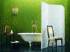 Bathroom: Green Mosaic Tiles Wall Beautify Fashionable Bathroom Completed With Free Standing Bathtub And White Divider, designing bathroom tiles, mosaic bathroom tile Green Bathroom Interior, Green Bathroom Colors, Lime Green Bathrooms, Green Bathrooms Designs, Green Interior Design, Bathroom Designs, Bathroom Ideas, Colorful Bathroom, Bathroom Inspiration
