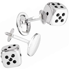 Removable Silver Dice Cufflinks with Crystals   Jan Leslie Cuff Links and Accessories