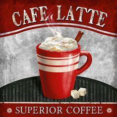 Cafe Latte Canvas Art - Conrad Knutsen x Coffee Cup Art, Coffee Shop, Coffee Break, Coffee Time, Latte, Diy Crafts Vintage, Café Chocolate, Coffee Pictures, Coffee Corner