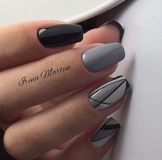 Top 100 gel nail art part 4 - Soft nail photos - Nails Gray Nails, Black Nails, Trendy Nail Art, Cool Nail Art, Winter Nails, Autumn Nails, Grey Nail Designs, Uñas Fashion, Nails 2017