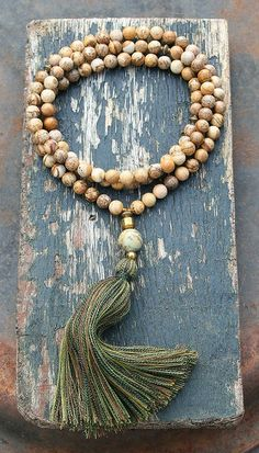 Mala necklace made of 108, 8 mm - 0,315 inch, very beautiful jasper gemstones and decorated with hematite and jade - look4treasures on Etsy