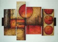 put WALNUT in between the paintings and also behind! Texture Painting On Canvas, Abstract Painting Techniques, Simple Canvas Paintings, Abstract Canvas, Canvas Wall Art, Modern Paintings, Circle Art, Wall Art Sets, Wall Art Designs