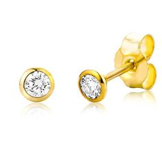 ff3937b06 Miore Small 14ct Yellow Gold Rubover with 0.2ct Diamond H/VS Stud Earrings  MB202E: Amazon.co.uk: Jewellery