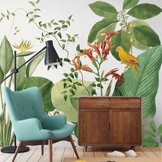 Tropical Rainforest Wallpaper Wall Mural, Plants and Flowers with A Big Bird Scenic Wall Mural,Livin Bedroom Wallpaper Murals, Wallpaper Wall, Wall Decals For Bedroom, Wall Murals, Living Room Murals, Living Room Bedroom, Living Room Decor, Cool Walls, Wall Stickers