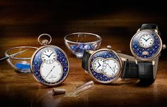 Technique of blending of both gold and azure is called paillonné enameling. Jaquet Droz unveiled three new watch models that feature paillonné enameling.