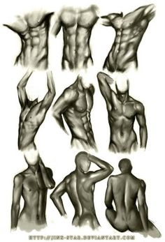 How to Draw the Human Body - Study: Male Body Types for Comic / Manga Character… Body Reference, Anatomy Reference, Art Reference Poses, Drawing Reference, Reference Photos For Artists, Character Reference, Character Drawing, Male Body Art, Human Body Art