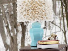 mama says sew: Ruffled Burlap Lamp Tutorial--With the Blue Ocean Breeze base, I'm in love! Minus trying to dust this thing!