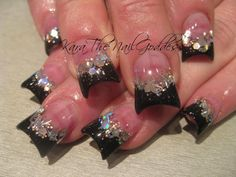 Flare Black And Sparkles Nail Art Nail Art Designs, Colorful Nail Designs, Acrylic Nail Designs, Fabulous Nails, Gorgeous Nails, Pretty Nails, Fan Nails, Love Nails, Duck Tip Nails