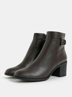 ddb8769953b Tmavě hnědé dámské kotníkové boty na vysokém podpatku Geox