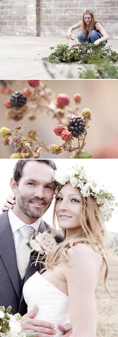 A florist does a flower crown for her wedding