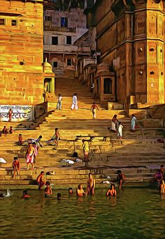 The Bathing Ghats - Paint. The steps leading into the sacred Ganges where Hindus wash away their sins in hopes of achieving moksha, the release from the cycle of rebirth. Varanasi is one of the oldest continuously inhabited cities on earth. Rishikesh, Spiritual Paintings, Amazing India, Steve Harrington, City Painting, Indian Art Paintings, Varanasi, India Travel, Pilgrimage