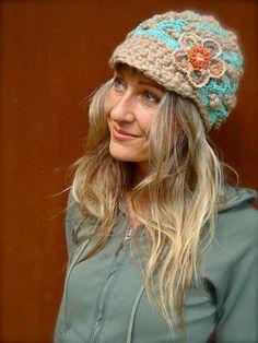 BOHEMIAN Slouchy Beanie crochet slouch hat FLOWER cap by GPyoga